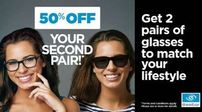 50% OFF Your Second Pair