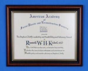 Dr. Kridel Receives Stephen C Duffy Award