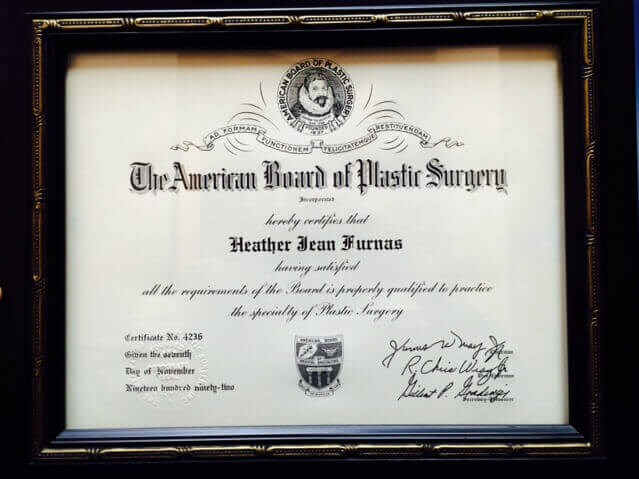 Diploma Indicating Certification by the American Board of Plastic Surgery