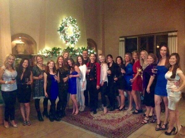 Heather Furnas, M.D., and Francisco Canales, M.D., and staff with Christmas wreath at Plastic Surgery Associates Party, 2014, Santa Rosa, California