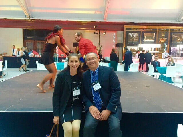 Heather Furnas, MD & Francisco Canales, MD at ASAPS meeting in Montreal (sitting on a stage with Cirque de Soleil)