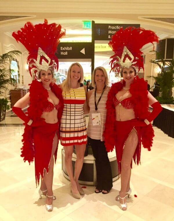 Abby and Carolyn of Plastic Surgery Associates of Santa Rosa with two Las Vegas Showgirls