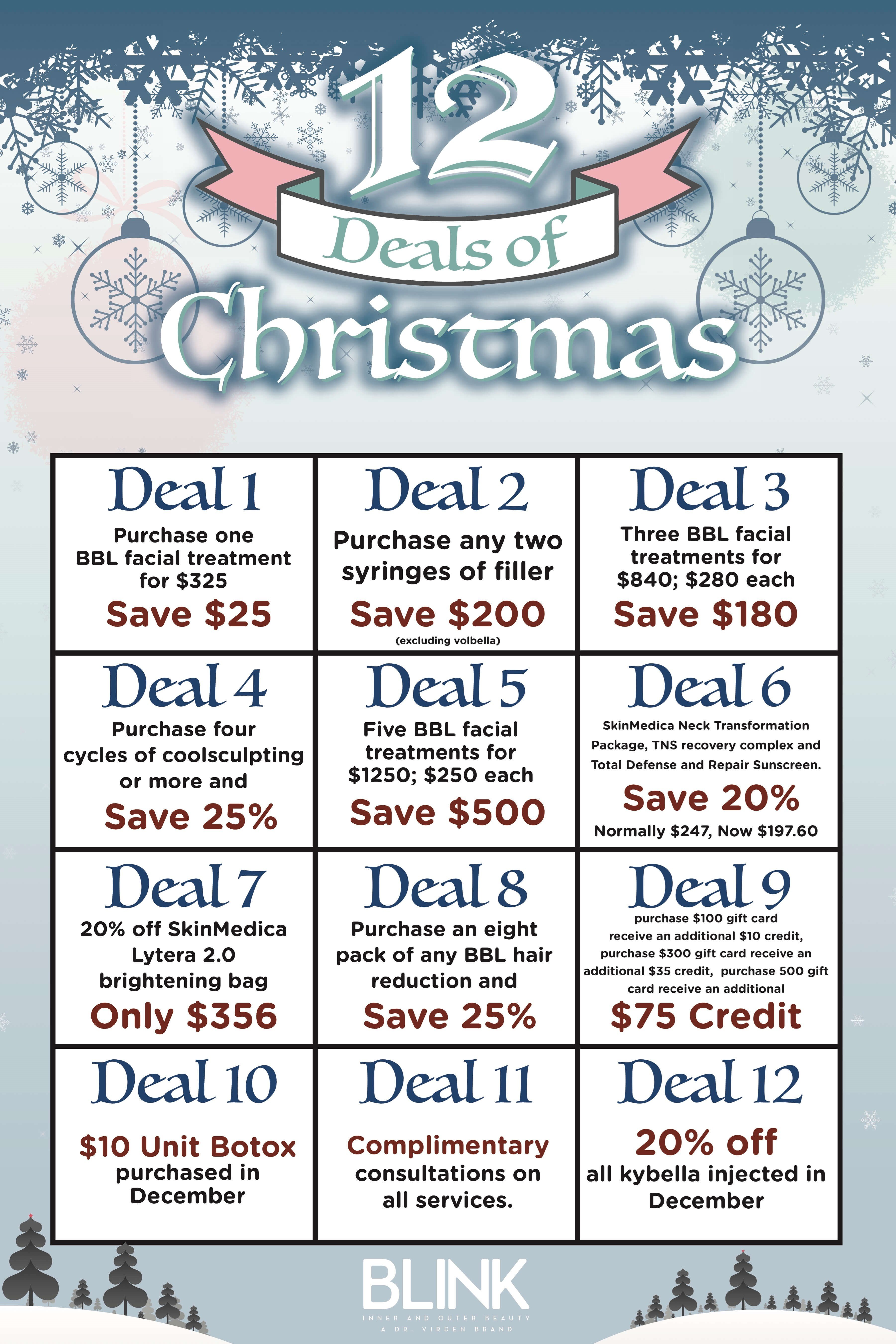 Medical spa special offers for 12 days of christmas salon specials